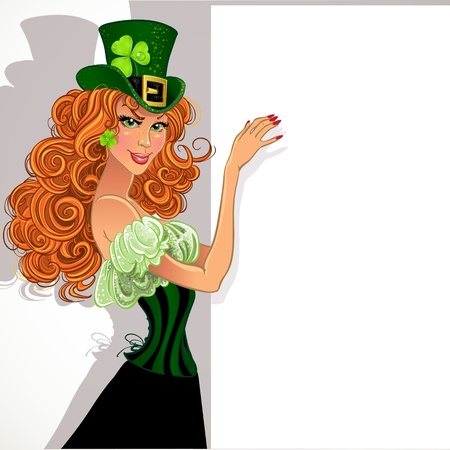 Pretty slim red-haired girl Leprechaun holding a large banner for your message Vector