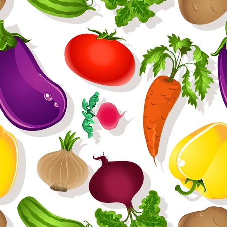 soup and salad: Seamless pattern of bright vegetables on a white background - tomato, beet, eggplant, cucumber