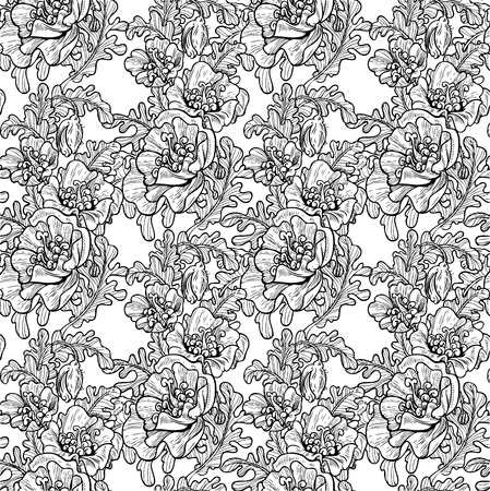 Seamless pattern of decorative black and white poppies Vector