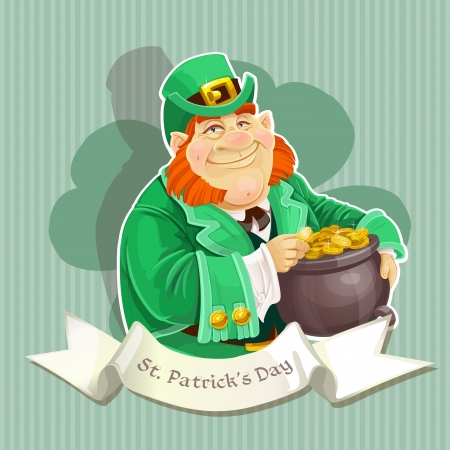 Cute big fat Leprechauns guard the pot of gold - Poster Stock Vector - 17852993