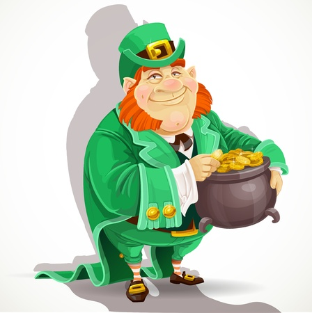 Cute big fat men Leprechauns guard the pot of gold Vector