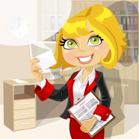 Business lady in office showing business card