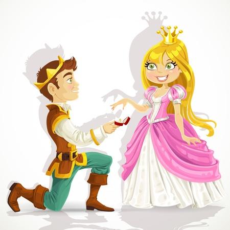 Prins was op zijn knieën te vragen de prinses huwelijk Stockfoto - 17841735
