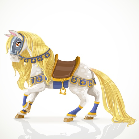 harness: White Royal Horse with a golden mane in harness