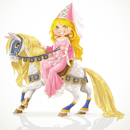 ruffles: Beautiful princess on a white horse with a golden mane in harness