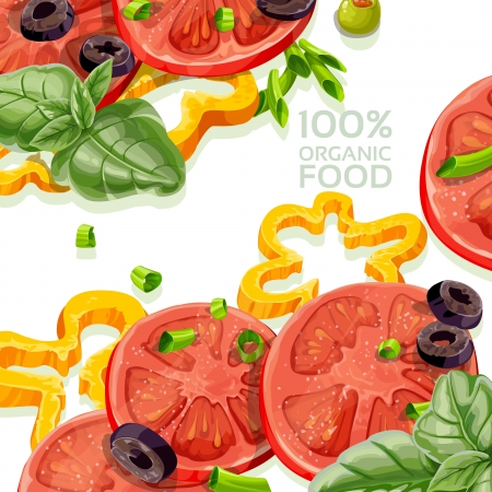 Background 100  organic natural food fresh Stock Vector - 17970942