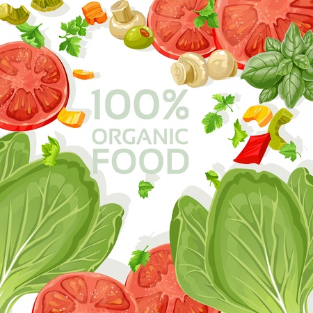 Background vegetarian fresh organic natural food Stock Vector - 17970936