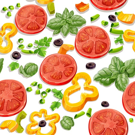 Seamless pattern from vegetables and herbs Vector