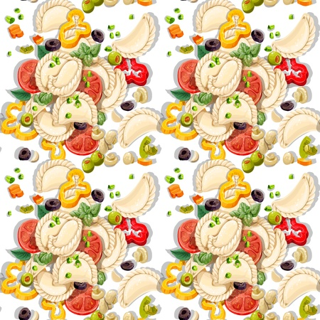 pickled: Seamless pattern of Ukrainian national dish dumplings with greens and vegetables Illustration