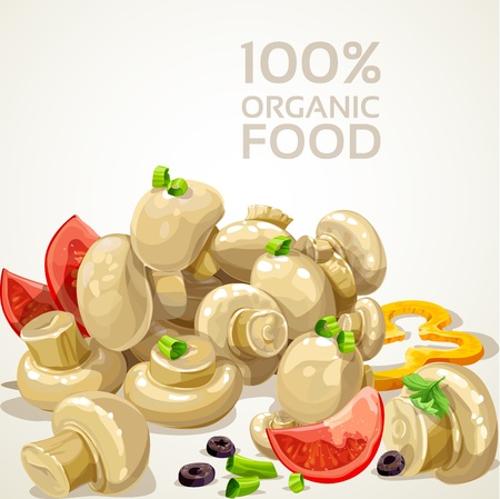 eatable: Banner with delicious marinated mushrooms and fresh vegetables