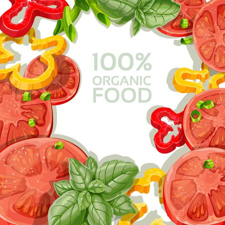 Background for your text with delicious and fresh vegetables Stock Vector - 18011092