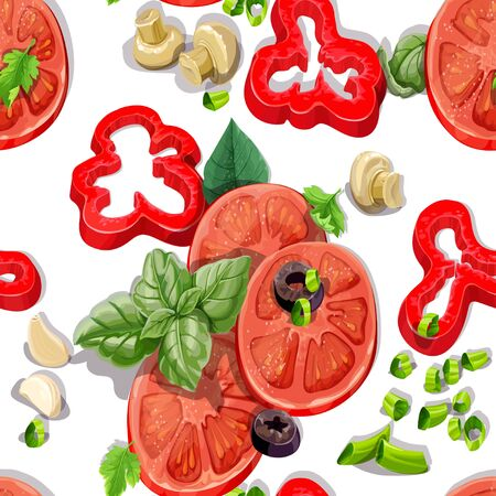 Seamless ornament with delicious and fresh vegetables Stock Vector - 18011096