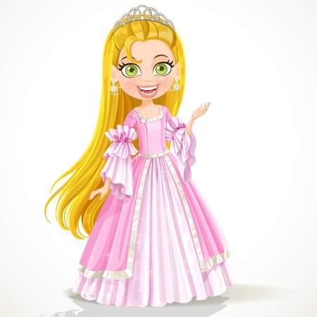 Mooie kleine prinses in een tiara en een roze baljurk