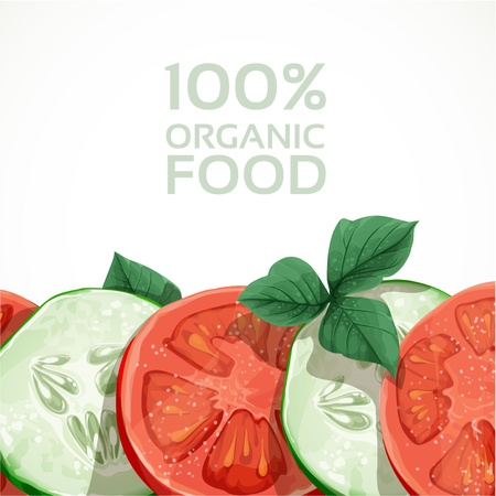 Banner with fresh vegetables tomatoes and cucumbers Stock Vector - 18011091