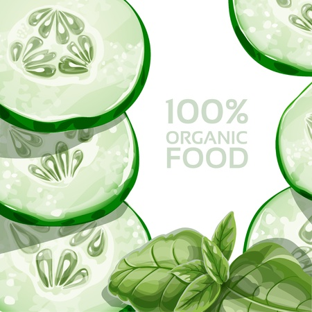 Background with green cucumber and basil Stock Vector - 18011094