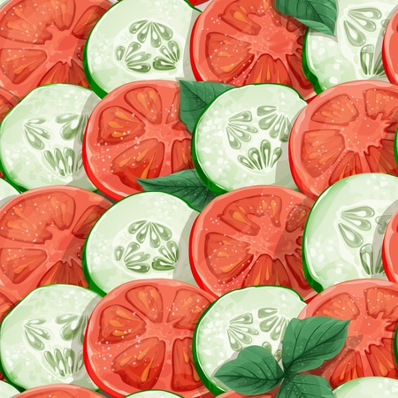Seamless pattern of cucumbers and tomatoes with herbs Vector