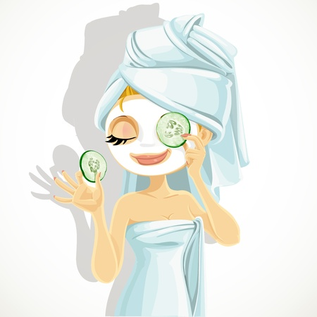 Cute girl in a cosmetic mask pack puts cucumbers on eyes Illustration