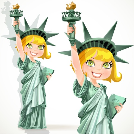 Blonde girl dressed as the Statue of Liberty with torch Vector