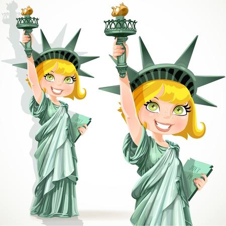 La muchacha rubia vestida como la Estatua de la Libertad con antorcha