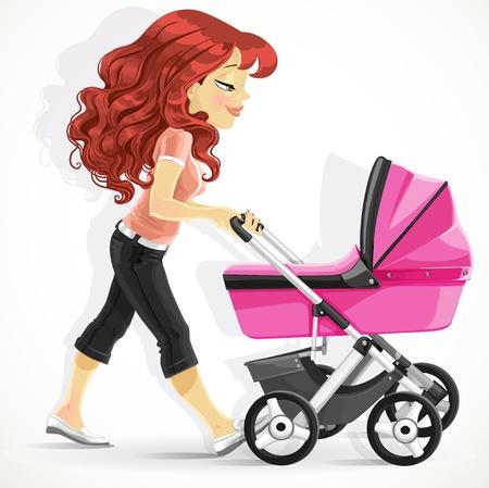 Lindo madre con un cochecito en caminata rosada aislada en el fondo blanco