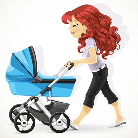 mother holding baby: Cute mother with a blue pram on walk isolated on white background