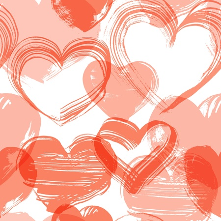 Seamless background from grunge handmade red hearts Vector