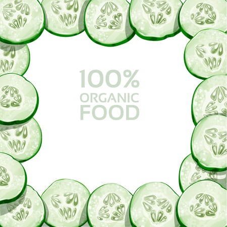 Beautiful frame from slices of fresh cucumber Stock Vector - 18046520