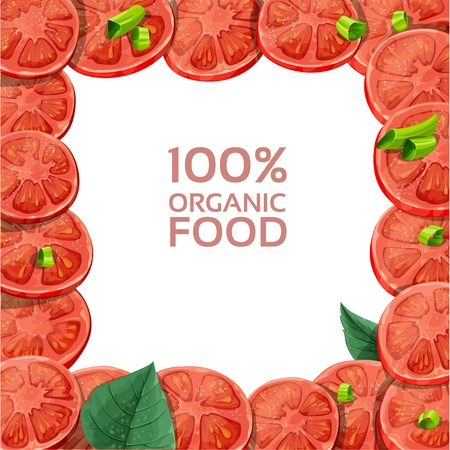 Beautiful frame with fresh tomato slices sprinkled with herbs Stock Vector - 18046518
