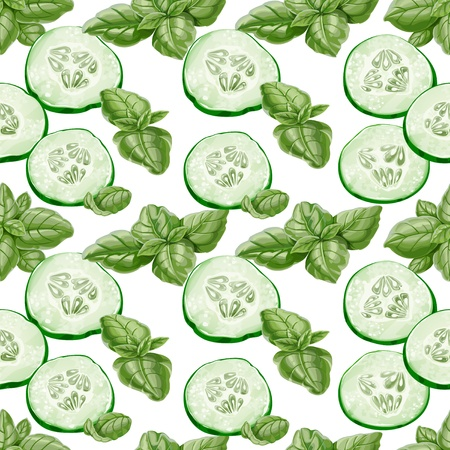 Seamless background from slices of fresh cucumber and basil Vector