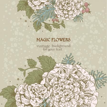 dalia: Flores mágicas soñar fondo de la vendimia Vectores