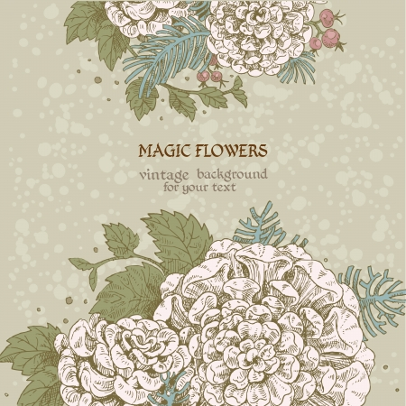 Magic flowers dream vintage background Stock Vector - 18046498
