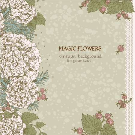 Vintage color decorative background of stylized flowers and berries Vector