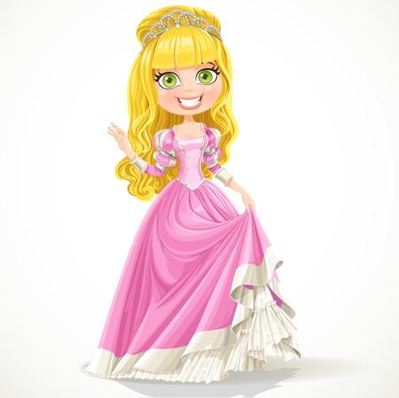 Zoete jonge prinses in een roze bal jurk