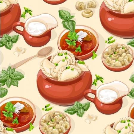 borscht: Seamless pattern of Ukrainian traditional food Illustration