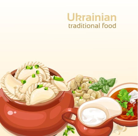 borscht: Ukrainian traditional food background with dumplings and soup for your design
