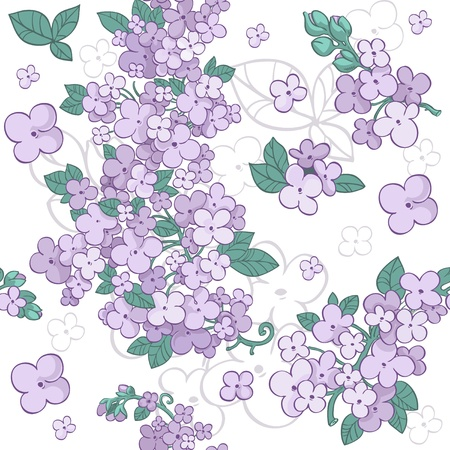 lilac background: Seamless pattern of colorful purple flowers lilac