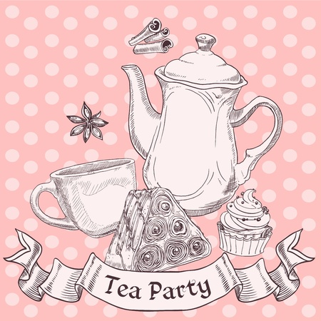 Vintage sweets and tea - tea party banner Stock Vector - 18220118