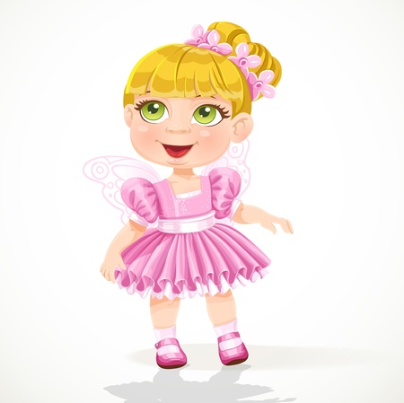Cute little girl in a pink ballet skirt and wings