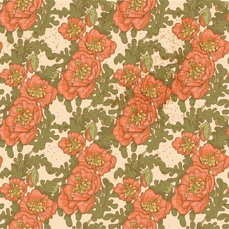 Seamless pattern of vintage decorative red poppies Stock Vector - 18220122