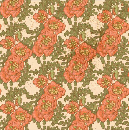 poppy pattern: Seamless pattern of vintage decorative red poppies Illustration