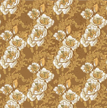 oldened: Seamless pattern of vintage grunge decorative white poppies Illustration