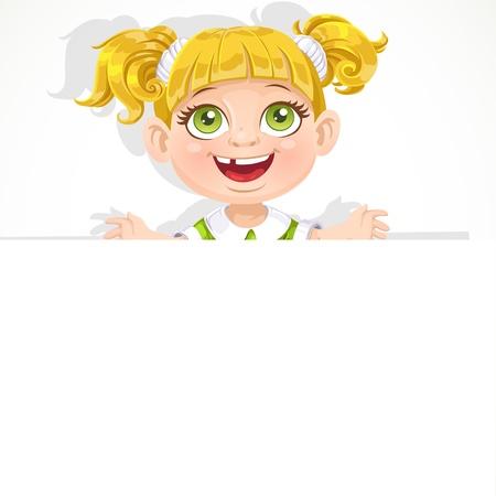Cute little girl holding a big blank banner