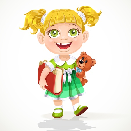 Cute little girl with a teddy bear and a book under his arm Vector