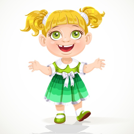 Cute little girl reaches out for hugs Vector