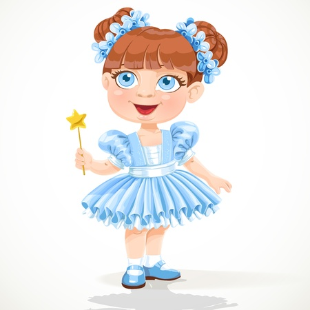 little girl in a blue ballet tutu and magic wand Vector