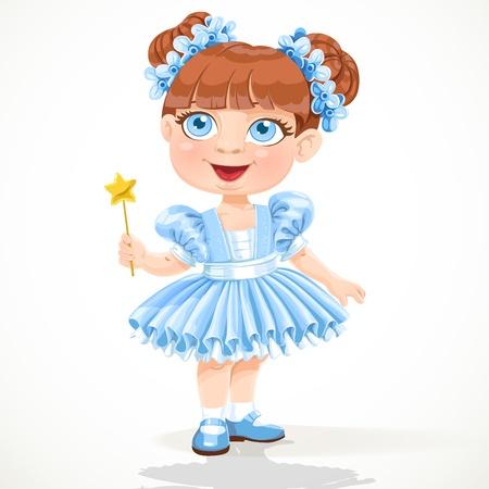 tutu ballet: ni�a en un tut� azul ballet y la varita m�gica