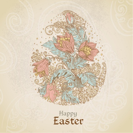 fairytale background: Easter vintage color background with egg from flowers