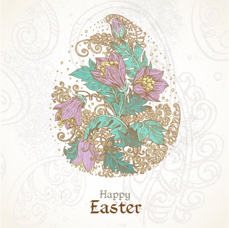 Happy Easter vintage color background with delicate egg from flowers Stock Vector - 18340384