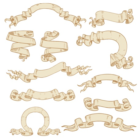 medieval scroll: Set of ribbons-banners ancient scrolls of parchment for your design