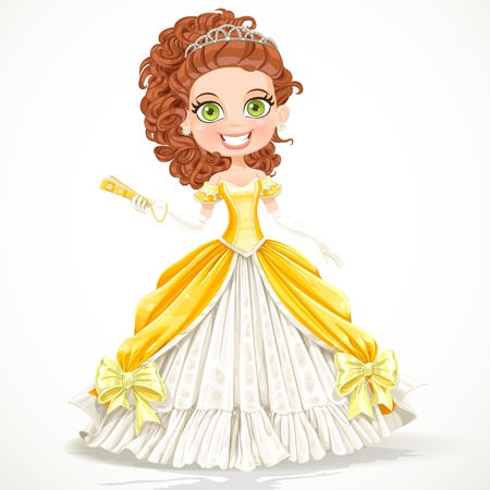 autiful princess in a yellow ball dress with a fan in his hand Vector